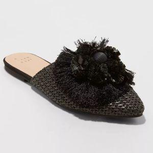 Black Woven Mule Womens Slide On Pom Tassle Shoe